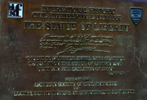 Commemorative plaques on the wall of the Statue of Liberty